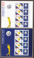 FRANCE 2018 Ryder Cup Sport Golf 2 Blocs Souvenir YT BF142 Et BF144 MNH** Luxe 100,00€ - Golf