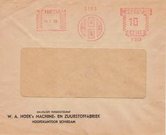Roodfrankering EMA Schiedam W. A. HOEK's MACHINE- EN ZUURSTOFFABRIEK, 14/1/1949 - Machine Stamps (ATM)