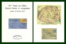 Catalogue 54éme Vente Sur Offres Roumet 2017 Histoire Postale Et Autographes - Catalogues For Auction Houses