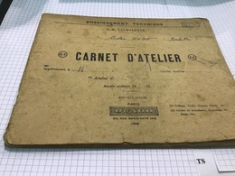 Enseignement  Technique Victor Hugo Marseille Carnet D'atelier Outillage Mise à La Disposition De L'élève Ajustage - Old Paper