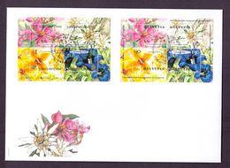 Schweiz Suisse 2001: HELVETIA SINGAPORE (Blumen Flowers) Zu 1033 Mi Block 31 Yv BF31 Combo-FDC (Zu CHF 20.00) - Emissions Communes