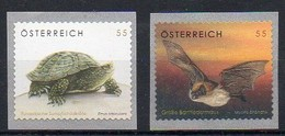 Österreich 2007  MiNr. 2624, 2651    **/ Mnh ;  Sumpfschildkröte, Fledermaus - Non Classés