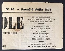 Empire Lauré 1861 Sur Fragment De Journal N°27a 4c Gris Jaunatre Obl Typographique Des Journaux Superbe ! - 1863-1870 Napoleon III With Laurels