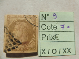 Timbre France  Napoleon 3 Empire Numero 9 ( 1859/65 ) - Napoleon III