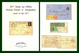 Catalogue 56éme Vente Sur Offres Roumet 2017 Histoire Postale Et Autographes - Catalogues For Auction Houses