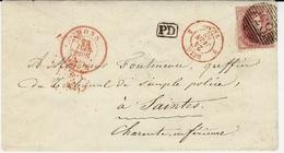 1862- Enveloppe De MONS  Affr. Y & T N°12  ( 4 Marges ) Oblit. N°83 Pour Saintes ( Charente Maritime ) - 1858-1862 Medallions (9/12)