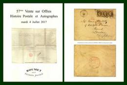 Catalogue 57éme Vente Sur Offres Roumet 2017 Histoire Postale Et Autographes - Catalogues For Auction Houses
