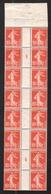 FRANCE 1907 SEMEUSE GRASSE YT N° 138 – Feuille De Roulette N° 2: 10c Rouge T.1A Millésime 4 Haut De Feuille - 1903-60 Semeuse Lignée