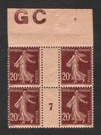 FRANCE 1907 SEMEUSE GRASSE YT N° 139e 20c Brun-rouge T.1 Papier GC Bloc De 4 Millésime 7 GC - 1903-60 Semeuse Lignée