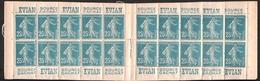 FRANCE 1907 SEMEUSE GRASSE YT N° 140e – Carnet 140-C12 25c Bleu T.2 Carnet Evian - 1903-60 Semeuse Lignée