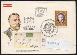 Österreich 1979  MiNr. 1608  FDC ; Europa: Laurenz Koschier, Pionier Der Briefmarke - Philatélie & Monnaies
