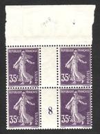 FRANCE 1907 SEMEUSE GRASSE YT N° 142 35c Violet  Millésime 8 Haut De Feuille - 1903-60 Semeuse Lignée