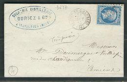 FRANCE 1865 N° 22 S/Lettre Obl. GC 3697 Saint Just En Chaussée - 1862 Napoleon III