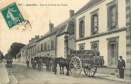 - Eure Et Loir -ref-A194- Janville - Rue De La Porte Du Puiset - Boulangerie - Attelage Chargement Tonneaux - Voir Etat - Autres Communes
