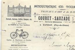 Facture 1914 / 63 RANDAN Serrurerie COURET-SAUZADE / Cycles ALCYON, PEUGEOT / Dépôt Lampe OSRAM - France