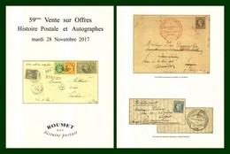Catalogue 59éme Vente Sur Offres Roumet 2017 Histoire Postale Et Autographes - Catalogues For Auction Houses