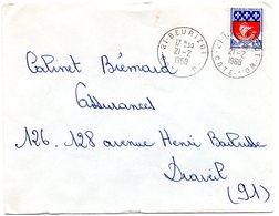 COTE D'OR - Dépt N° 21 = BEURIZOT 1968 = CACHET MANUEL A9 - Postmark Collection (Covers)