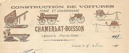 Facture 1911 / 63 LEZOUX Construction De Voitures CHAMBERLAT-BOISSON / Forge, Charronnage - 1900 – 1949