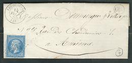 FRANCE 1865 N° 22 S/Lettre Obl. GC 1504 Feuquiéres (indice 7) - 1862 Napoleon III