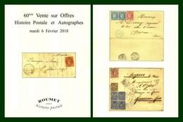 Catalogue 60éme Vente Sur Offres Roumet 2018 Histoire Postale Et Autographes - Catalogues De Maisons De Vente