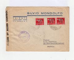 Sur Enveloppe Paire De 5 L. Rose Rouge Et Un 5 L. Suchargés AMG VG. CAD. Cachet Contrôle Alliés. (726) - Occ. Yougoslave: Trieste