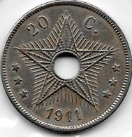 20 Centimes Congo-Belge 1911 - Congo (Belgian) & Ruanda-Urundi