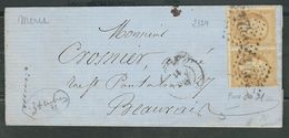 FRANCE 1867 N° 21 Paire S/Lettre Obl. GC 2324 Meru - 1862 Napoleon III