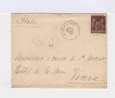 Sur Enveloppe Type Sage 25 C. Noir Et Rose. Cachets Ambulants Le Vigan à Nîmes Et Modane Turin  1887. CAD Venezia. (728) - Poststempel (Briefe)