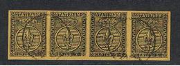 PARMA:  1852  GIGLIO  BORBONICO  -  5 C. GIALLO-ARANCIO  STRISCIA  4  US. -  FAKE  COPY -  SASS. (1) - Parma