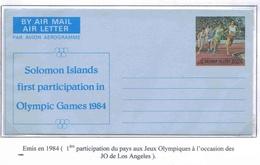 Solomon Aérogramme 1984 Athlétisme Aerogram Air Letter Entier Entero Ganzsache Lettre Carta Belege Airmail Cover - Salomon (Iles 1978-...)