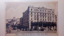 """Cagliari - Palazzo De La Rinascente E Largo Carlo Felice - Animata, Tram, Auto, Voiture - """"Albergo Miramare"""" - 1934 - Cagliari"""