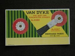 BUVARD  BLOTTER.  Publicité. EBERHARD FABER. New York.   VAN  DYKE. Soft Ink Typewriter Eraser With Brush - Buvards, Protège-cahiers Illustrés