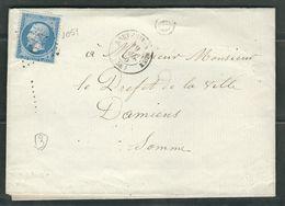FRANCE 1860 N° 22  S/Lettre Obl. GC 614 Breteuil S/Noye - 1862 Napoleon III