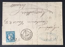 1870 Bordeaux  N°44a Type I Rep I Sur Enveloppe Obl GC 4261 (2e Choix) Effleuré En Haut Dans L'angle Droit, Signé Calves - 1870 Emission De Bordeaux