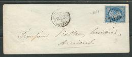 FRANCE 1865 N° 14  S/Lettre Obl. GC 1051 Clermont De L'Oise - 1862 Napoleon III