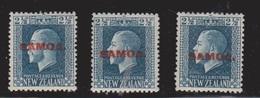 SAMOA Scott # 132 X 3 MH - KGV New Zealand Stamp Overprinted - Samoa