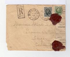 Sur Enveloppe En Recommandé Pour Saïgon 2 Timbres Effigie Grand Duc Adolphe 1er. CAD Diekirch 1900. (733) - Marcophilie - EMA (Empreintes Machines)