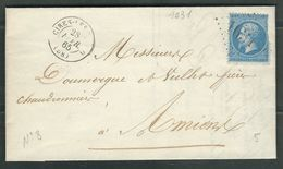 FRANCE 1865 N° 22  S/Lettre Obl. GC 1031 Cires Les Mellos - 1862 Napoleon III