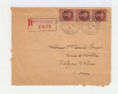 Sur Enveloppe 3 Timbres Pétain 1941 42 Surchargés RF. R.A.Lyon. CAD St Donnat L'Herbasse Drôme. (734) - Libération