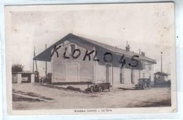 45 Ascoux (Loiret ) - La Gare - Interieur De La Cour ... - Voiture Décapotable Et Berline  ... - CPA Sépia - Altri Comuni