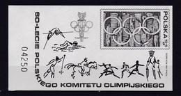 60 Jahre Polnisches Olympisches Komitee, Schwarzdruck Block ** - Pologne