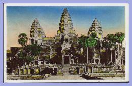 CPSM Colorisée - Angkor-Vat (Cambodge) - 127. Le Massif Central - Vue De Face - Cambodge