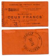 1914 - 1918 // SOMME // Commune De POEUILLY // Bon De Deux Francs - Bons & Nécessité
