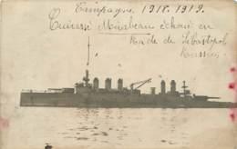 CARTE PHOTO RUSSIE  CAMPAGNE 1918 1919 CUIRASE MIRABEAU ECHOUE EN RADE DE SEBASTOPOL - Russia