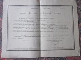 Diplôme--1941 BREVET D'ENSEIGNEMENT PRIMAIRE SUPÉRIEUR  Bulletin Scolaire Académie D'Aix-Blanc Née à SIGNANS Var 1924 - Diplômes & Bulletins Scolaires