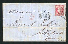 Belle Lettre De Paris Pour Madrid ( 1863 ) Avec Un N° 17B - 1853-1860 Napoleon III