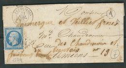 FRANCE 1865 N° 22 S/Lettre Obl. GC 1504 Feuquiéres - 1862 Napoleon III