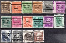 USA Precancel Vorausentwertung Preo, Locals Washington, Seattle 255, 16 Diff. - Etats-Unis