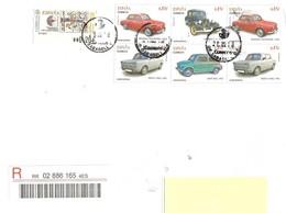 SPAGNA - 2018 Lettera Raccomandata Per L'estero Con 7 Francobolli 2012 AUTO EPOCA (Renault, Citroen, Simca, Seat) - 1931-Aujourd'hui: II. République - ....Juan Carlos I