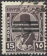 EGYPT 1953 King Farouk Oblliterated By Three Bars -  15m - Purple FU - Egypt